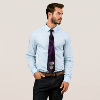 Grey alien Men's neck tie