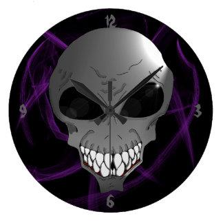 Grey alien round wall clock