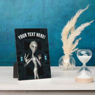 Grey Alien Sci-Fi Geek Plaque