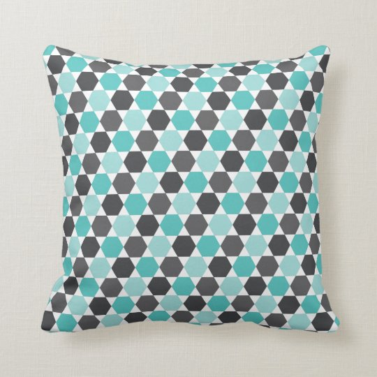 Grey and aqua blue geometric hexagon pattern cushion