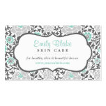 Grey and Aqua Floral Damask Appointment Pack Of Standard Business Cards