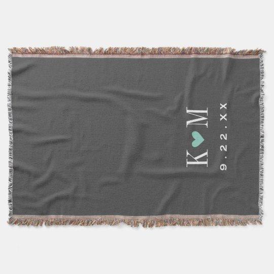 Grey and Aqua Modern Wedding Monogram Throw Blanket