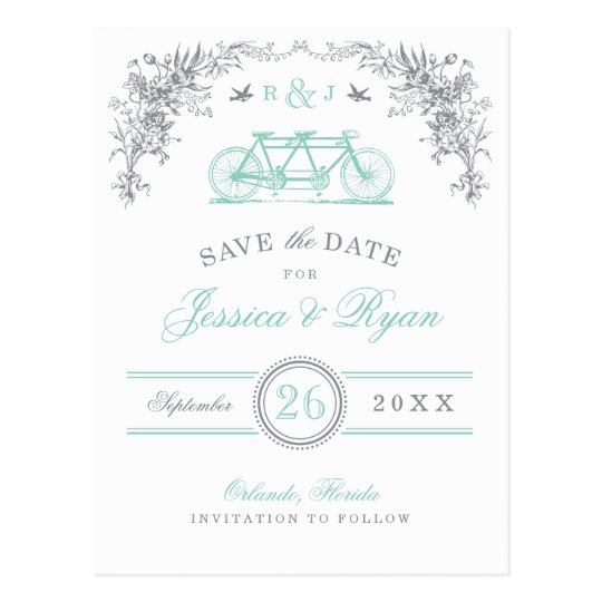 Grey and Aqua Vintage Bicycle Save the Date