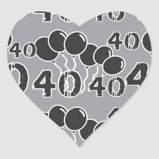Grey and BLACK 40th Birthday - 40 yrs old Bday Heart Sticker