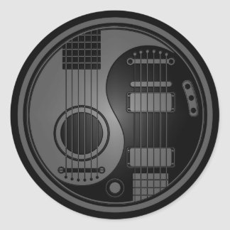 Grey and Black Acoustic Electric Guitars Yin Yang Classic Round Sticker