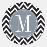 Grey and Black Chevron Custom Monogram Round Sticker