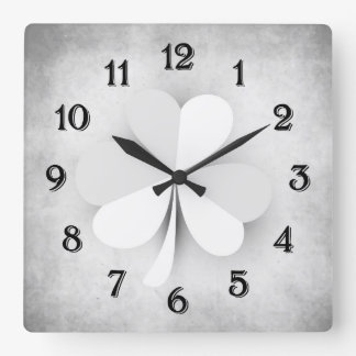 Grey and Black Clover Irish Grunge Clocks