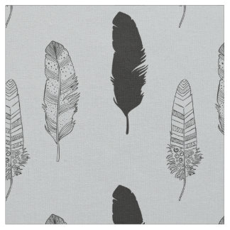 Grey and Black Feathers Fabric