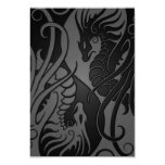 Grey and Black Flying Yin Yang Dragons 9cm X 13cm Invitation Card