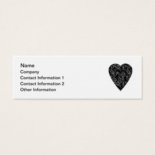 Grey and Black Heart. Patterned Heart Design. Mini Business Card