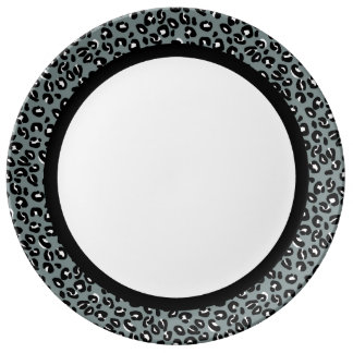 Grey and Black Leopard with Black Band on White Plate