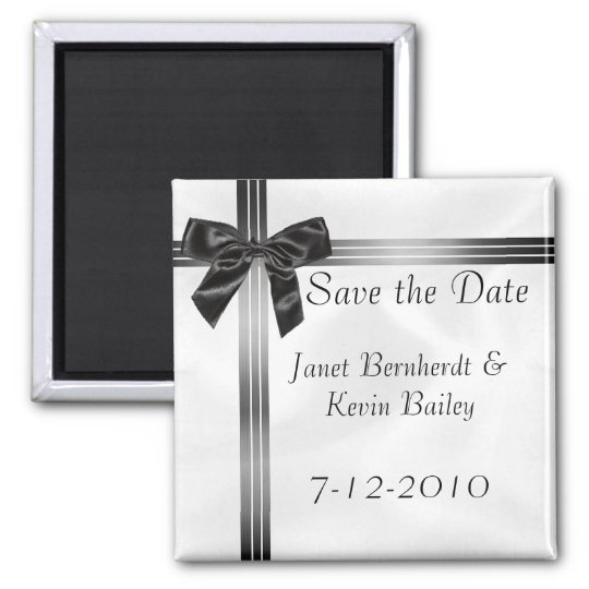 Grey and Black Save the Date magnet