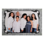 Grey and Black Script Border Family Photo Poster