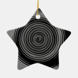 Grey and Black Sharp Spiral Ceramic Star Decoration