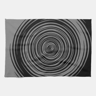Grey and Black Sharp Spiral Tea Towel