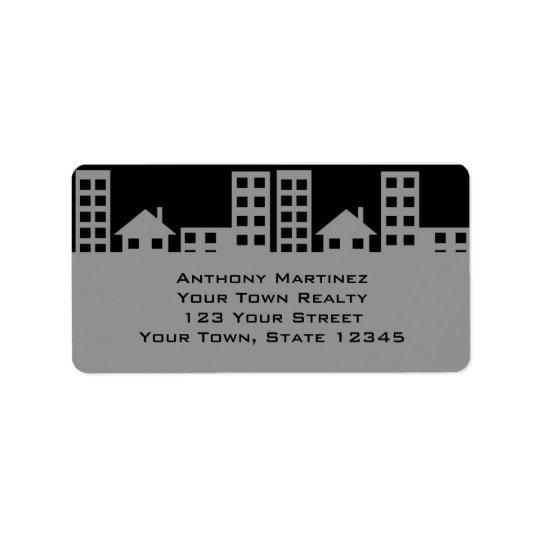 Grey and Black Sklyline Address Label