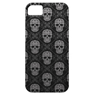 Grey and Black Sugar Skull Pattern iPhone 5 Covers
