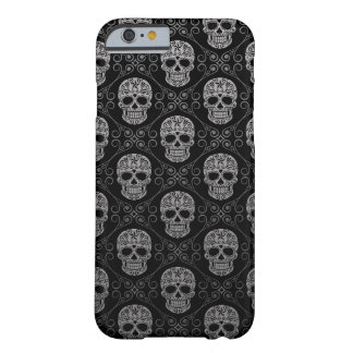 Grey and Black Sugar Skull Pattern Barely There iPhone 6 Case