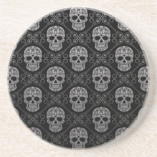 Grey and Black Sugar Skull Pattern Coaster