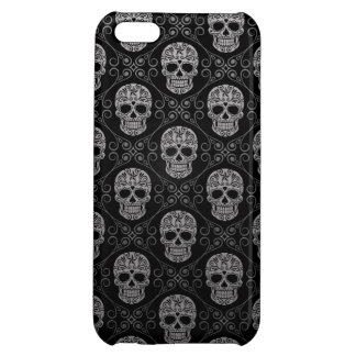 Grey and Black Sugar Skull Pattern iPhone 5C Cases