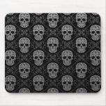 Grey and Black Sugar Skull Pattern Mouse Pad