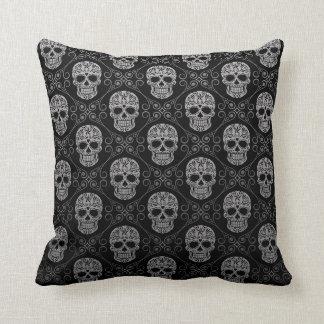 Grey and Black Sugar Skull Pattern Throw Pillow