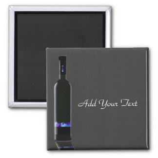 Grey and Black Wine Bottle Business Square Magnet
