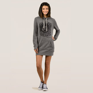 grey and black womens hoodie dress with quote art