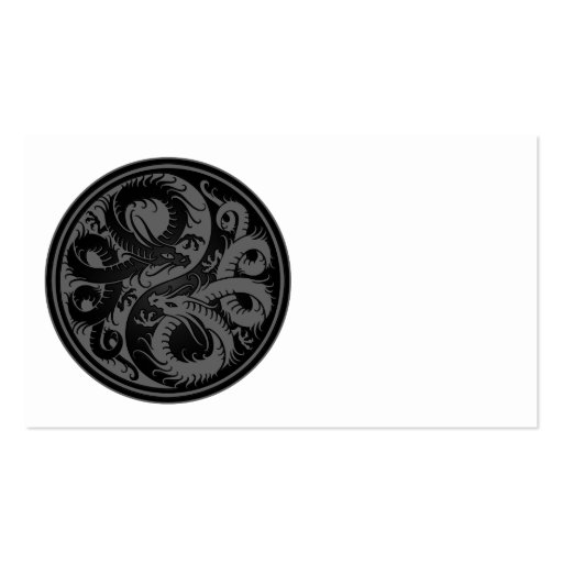 Grey and Black Yin Yang Chinese Dragons Business Card Template