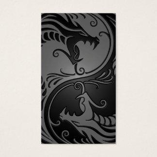 Grey and Black Yin Yang Dragons Business Card