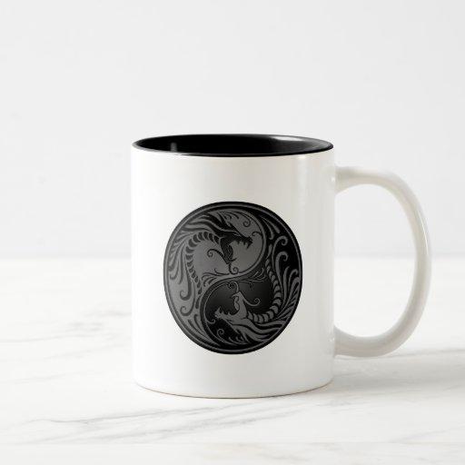 Grey and Black Yin Yang Dragons Mugs
