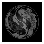Grey and Black Yin Yang Koi Fish Poster