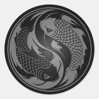 Grey and Black Yin Yang Koi Fish Round Sticker