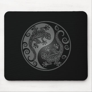 Grey and Black Yin Yang Lizards Mouse Pad