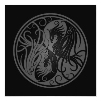 Grey and Black Yin Yang Phoenix Card