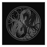 Grey and Black Yin Yang Phoenix Invites