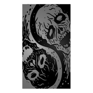 Grey and Black Yin Yang Zombies Business Cards