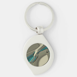 Grey and Blue Abstract Art Key Rings