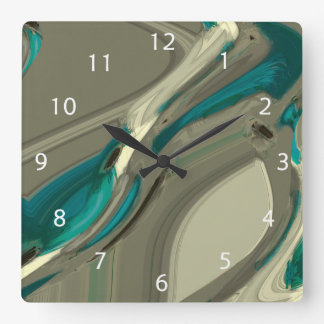 Grey and Blue Abstract Art Square Wall Clock