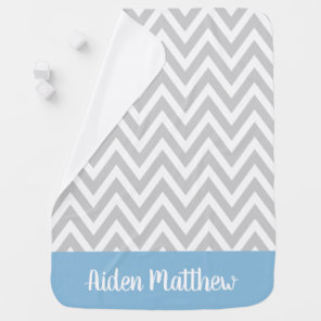 Grey and Blue Chevron Baby Name Monogrammed Baby Blanket