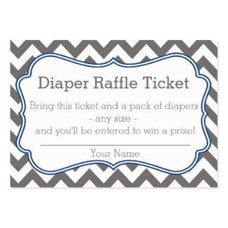 Grey and Blue Chevron Diaper Raffle Ticket Business Cards