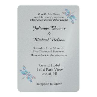 Grey and Blue Dragonflies 13 Cm X 18 Cm Invitation Card