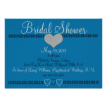Grey and Blue Formal Bridal Shower Invitation