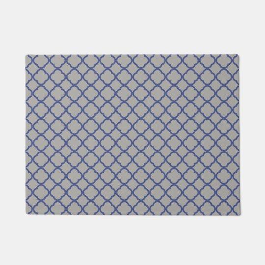 Grey and blue Moroccan pattern Doormat