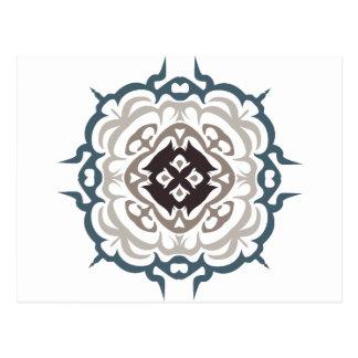 Grey and Blue Ornate Flourish Damask Pattern Postcard