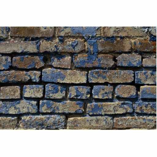 Grey and blue painted weathered brick texture standing photo sculpture