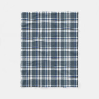 Grey and blue tartan fleece blanket