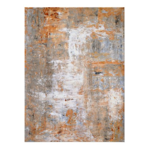 Grey and Brown Abstract Art Painting Poster