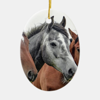 Grey and Brown Horses Ceramic Oval Decoration