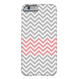 Grey and Coral Chevron Stripes Barely There iPhone 6 Case